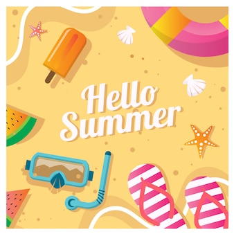 Vector illustration of summer beach background template for social media