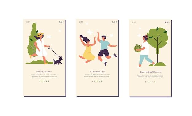 ウェブサイトまたはモバイルアプリページのオンボード画面の人々が楽しんでいるためのベクトルイラスト夏のコンセプトと...