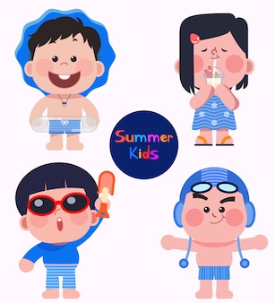 Vector illustration of summer kids with swimming suits.