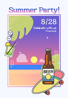 Vector illustration of summer party