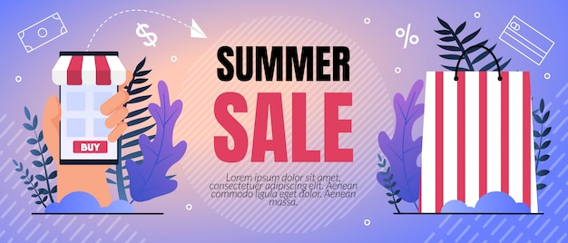 Vector illustration summer sale percent lettering.