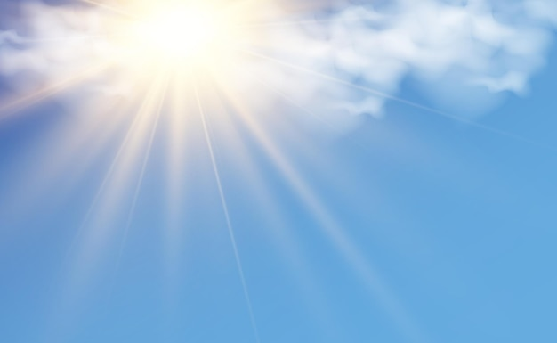 Vector illustration of the sun shining through the clouds sunlight cloudy vector