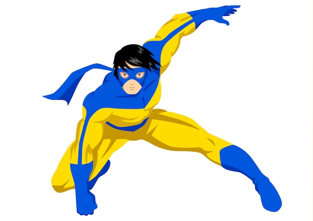 Vector illustration of a superhero with mask pose in action