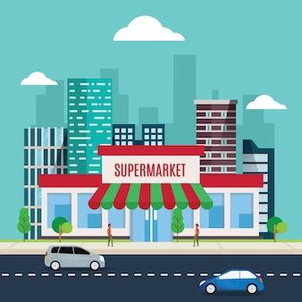 Vector illustration of supermarket