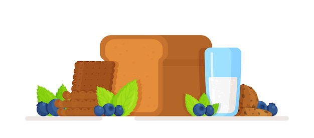 Vector illustration of sweet bread concept of sweet bread and milk berries and cookies