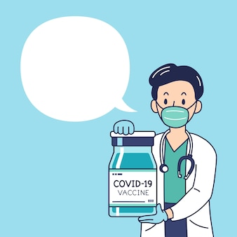 Vector illustration talking male doctor with vaccine vial for design.