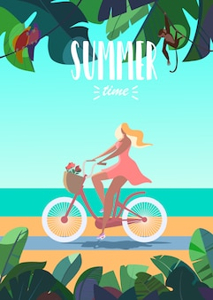 Vector illustration of tanned girl riding bike summer time. sea, beach, cute animals on ba