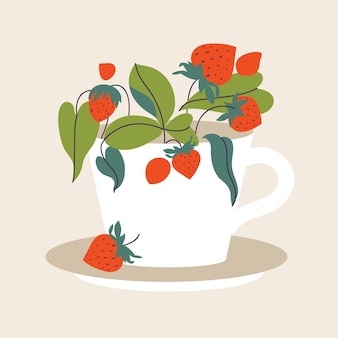 Vector illustration tea cup full of berries and leaves. strawberry tea.