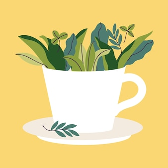 Vector illustration tea cup full of green leaves on yellow background