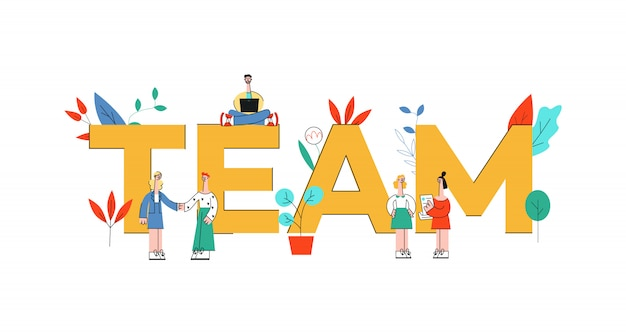 Vector illustration of team text design with business people working and discussing themes near big letters.