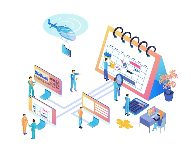 Vector illustration team work on project isometric