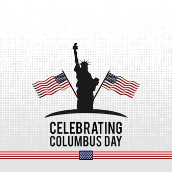 Vector illustration text columbus day on abstract background.