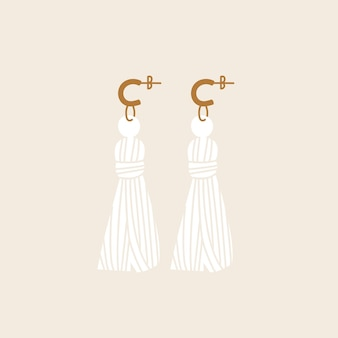 Vector illustration textile earrings. stylish modern design of accessory.