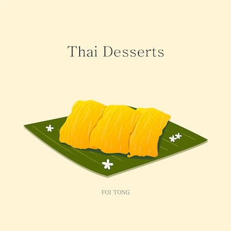 Vector illustration thai dessert made with coconut and egg yolks and sugar  vector eps 10