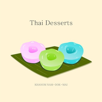 Vector illustration thai dessert made with flour sugar coconut milk  vector eps 10