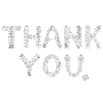 Vector illustration of thank you text on white background