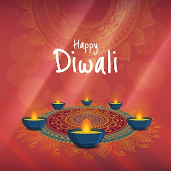 Vector illustration on the theme of the holiday diwali. deepavali light and fire festival.