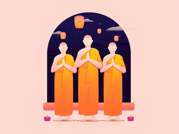 Vector illustration of three monks celebrating vesak day