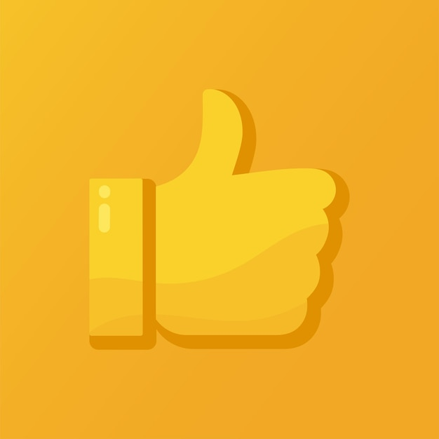 Vector illustration of a thumbs up, likes, approved or good symbol on an orange background.