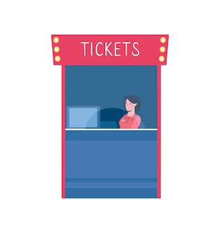 Vector illustration of a ticket office in a cinema
