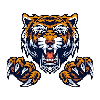 Vector illustration of tiger and claws