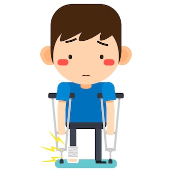 Vector illustration, tiny cute cartoon patient man character broken right leg in gypsum bandage or plastered leg standing with axillary crutch