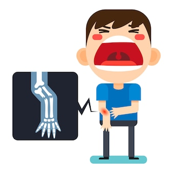 Vector illustration, tiny cute man character broken right arm and x-ray