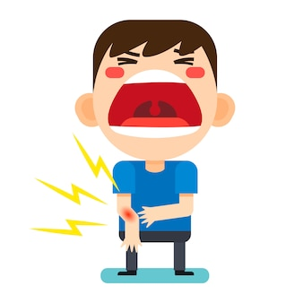 Vector illustration, tiny cute man character broken right arm