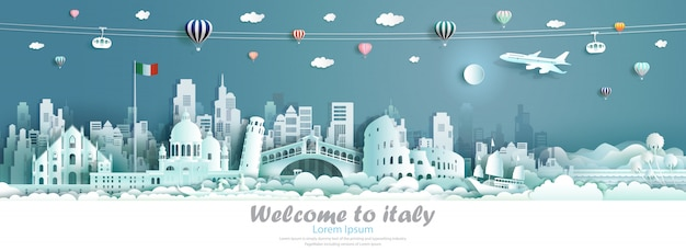 Vector illustration tour italy architecture famous landmarks of europe.