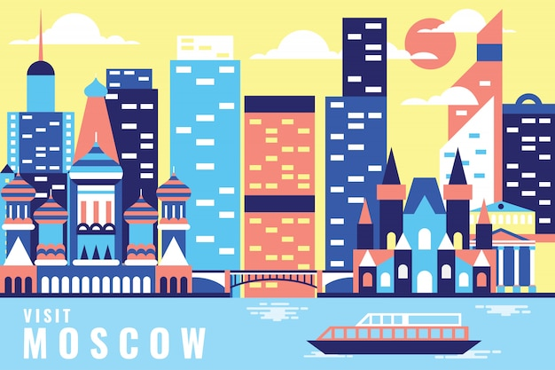 Vector illustration tour in moscow
