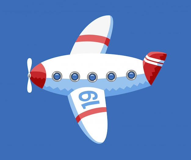 A vector illustration of the toy airplane in the blue sky