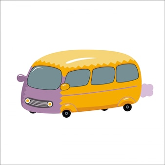 A vector illustration of the toy yellow bus