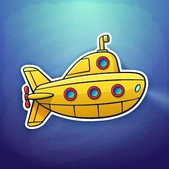 Векторная иллюстрация игрушечная желтая подводная лодка, плавающая глубоко под водой наклейка в мультяшном стиле