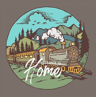 Vector illustration of train with mountain background