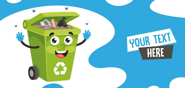 Vector illustration of trash bin