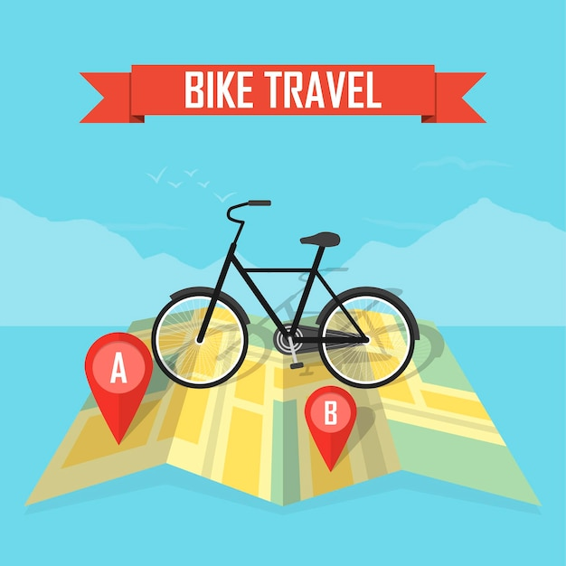 地図の背景に自転車とベクトルイラスト旅行者