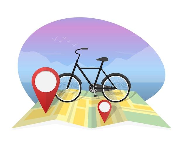 地図の背景に自転車とベクトルイラスト旅行者。