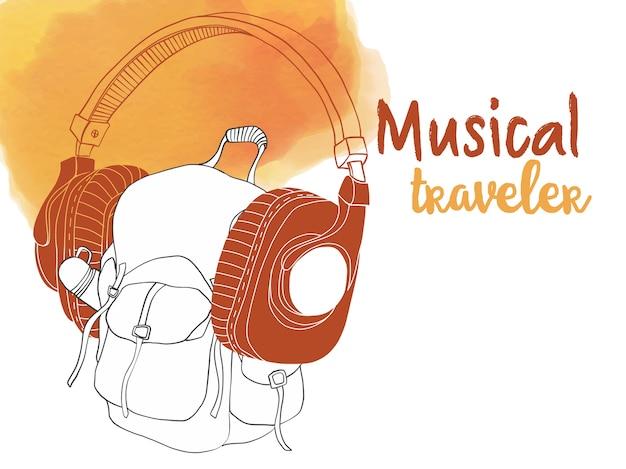 Vector illustration of travelers backpack with big earphones