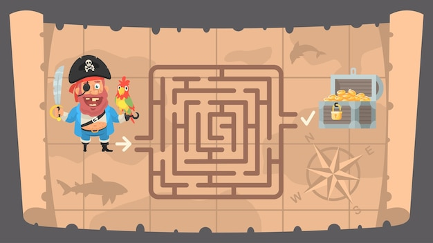 Vector illustration, treasure map and conundrum labyrinth, format eps 10