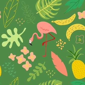 Vector illustration in trendy flat simple style, spring and summer seamless background with flamingo, plants, leaves, flowers for banner, greeting card, poster, cover, pattern