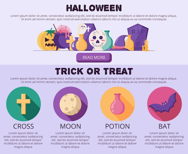 Vector illustration of trick or treat for website banner and landing page