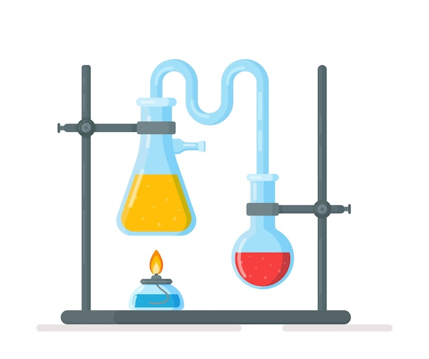 Vector illustration of tripod flasks experiment in chemistry class chemical synthesis