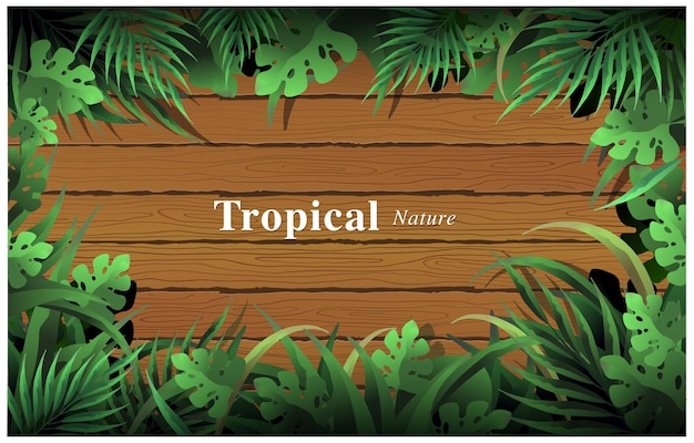 Vector illustration tropical summer foliages covering woods