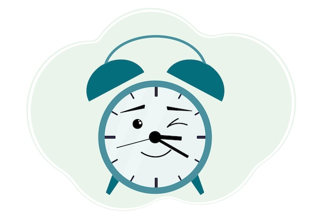 Vector illustration of turquoise alarm clock with cheerful emotion. winks