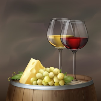 Vector illustration. two glasses of wine with cheese and bunch of grape on wood cask