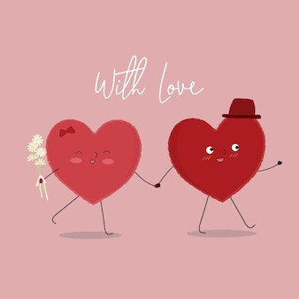 Vector illustration of two happy hearts walking with each other.