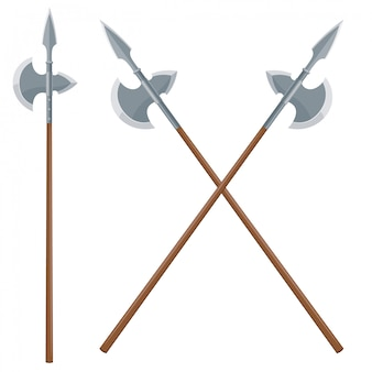 Vector illustration of two intersecting halberds