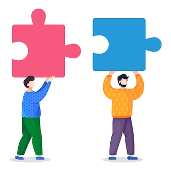 Vector illustration of two men with pieces of puzzle, joining element, partnership, teamwork concept