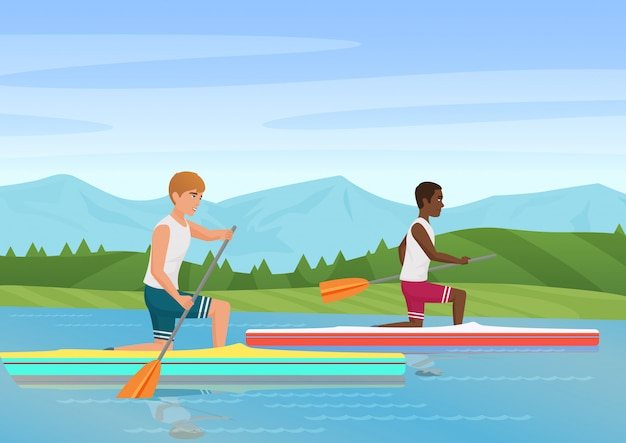 Vector illustration of two sportsmen rowing and competiting on river.