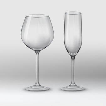 Vector illustration. two types of glasses: wine glass and champagne flute. empty and transparent on gray background